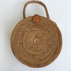 Handmade in Bali round rattan bag with top handle